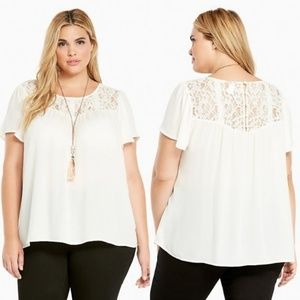 Torrid Georgette Lace Inset Cloud Dancer Top